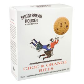 Shortbread Chocolate y Naranja 150gr - Shortbread House of Edinburgh - Galletas deliciosas de tamaño 'bite-sized' con una textura crujiente y mantecosa.